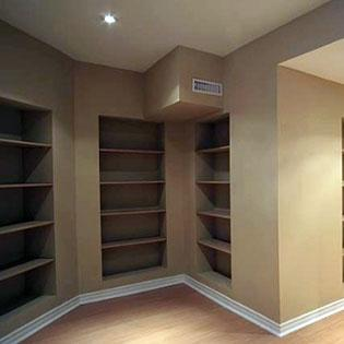 basement storage space shelves